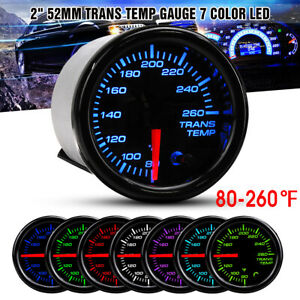 "2"" 52mm Transmission Trans Temp Gauge Kit 7 COLOR LED Electrical Peak Black Face"