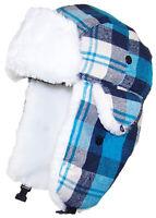 Best Winter Hats Big Kids Quality Madras Plaid Russian/Trapper Beanie - Blue