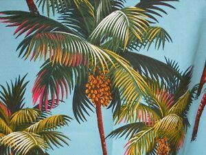 "17"" Hawaiian Tropical Cotton Barkcloth Fabric CORDED PILLOW ~Palm Trees-Aqua~"