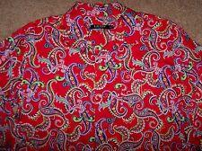 NWT Ralph Lauren RED FLORAL PAISLEY Sleep Shirt LUXE Cotton Sateen Gown M NICE!