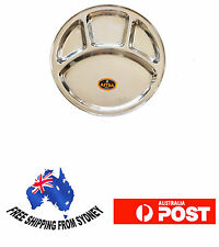 Stainless Steel Round Thali Plate Big, 4 compartments, Set of 8