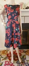NEW Fit & Flare 50's Pin Up Sleeveless Red Rose Dress Size 1X Low Back