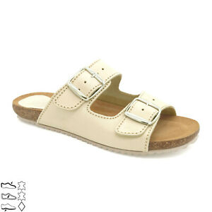 Women's Leather Mules slippers Real Leather footbed Sandals Cork Sole, Yellow