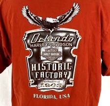 Harley-Davidson T-Shirt Mens XL SS Red USA-made Orlando FL Historic USA-Made