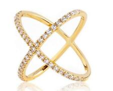 2.45 CW CZ Yellow Gold X Ring Minimalist Geometric Criss Cross Circle Size 6