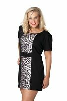 New Womens Plus Size Top Ladies Animal Leopard Print Buckle Tunic Short Sleeve