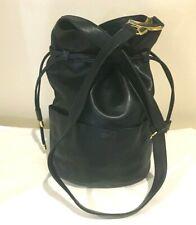 Paloma Picasso Navy Blue Leather Drawstring Bucket Cross Body Handbag