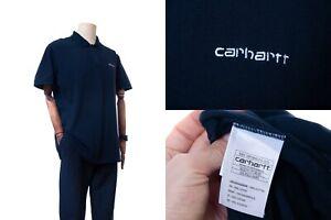 Men's СARHARTT WIP Dark Blue Short Sleeve Colar T shirt Polo