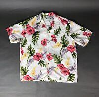 Two Palms Vintage Men's XL Floral Hawaiian Aloha Camp Shirt, Tropical, Lounge