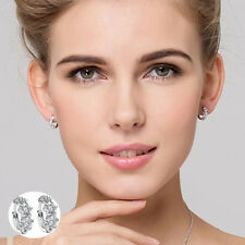 1Pair Stylish Women Girls Silver Alloy Crystal Clip-On Stud Earring Jewelry Gift