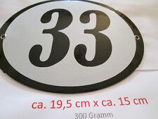 Hausnummer Oval Emaille  schwarze Nr. 33  weißer Hintergrund 19 cm x 15 cm #