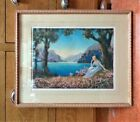 1930S Vintage R ATKINSON FOX Framed Print DAY DREAMS Landscape with Woman