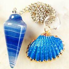 Blue Stripes Onyx Agate Shell Pendulum & Tibetan Silver Pendant Bead 86737