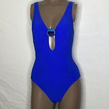 Sz 14 Amoressa Miraclesuit Crete Electra Plunge Keyhole Swimsuit Lapis Blue NWOT