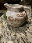 VINTAGE Deer Hunter Pitcher Large Ceramic Farm Folk Hand-painted #125 ~ NICE!!!