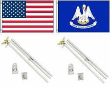 3x5 Usa American & State of Louisiana Flag & 2 White Pole Kit Sets 3'x5'