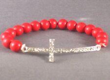 Christian Bracelet Stone Bead Silver Tone Cross Rhinestone Accent RED Low Stock!