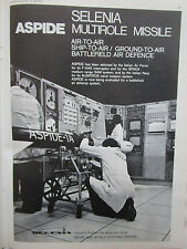 5/1975 PUB SELENIA ITALIA ASPIDE MULTIROLE MISSILE AIR TO AIR SHIP TO AIR AD