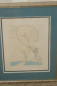"Salvador Dali ""Freud With Snail Head"" Etching 1974 Albert Field cert Framed"