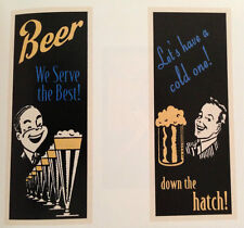 2 BAR ART PRINT SET Beer We Serve The Best Let's Have a Cold One 20x8 Poster