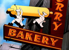 Bakery Neon Sign Art Hand Colored Photo Chefs Bakers Restaurant Art Decor Mich