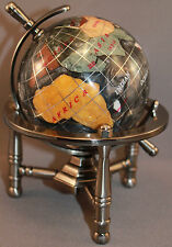Multi-Gemstone 90mm Desktop Globe in Black Pearl - Pewter Tone Base Free S&H