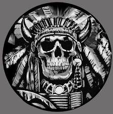 DEATH SKULL INDIAN CHIEF SKULL TACTICAL COMBAT 3.5 INCH MORALE HOOK LOOP PATCH