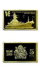 Malawi 60th Anniversary of VE Day USS Missouri BB-62 5 Kwacha 2005 Gilded Proof