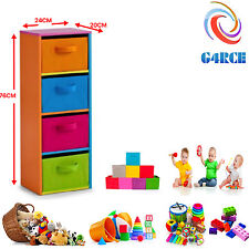 Kids Toy Storage Unit Tower 4 Tier Book Shelf Children Game Toys Organizer Boxes