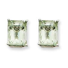 14k White Gold Polished 9mm x 7mm Emerald-Cut Green Quartz Post Stud Earrings