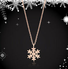 Samie Collection 18K Rose Gold Plated Stainless Steel SnowflakePendant Necklace