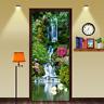 Waterproof 3D Door Mural Waterfall Swan Self Adhesive Door Wrap Wall Sticker