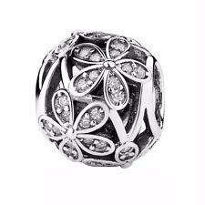 Flower s925 CZ sterling silver charm pendant Bead For European bracelet bangle