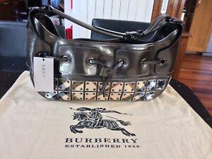 Burberry Prorsum Bronze Supernova Check Mini Warrior Studded Hobo Hand Bag