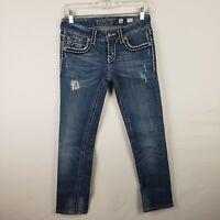 Miss Me Womens Jeans Size 26 Sunny Straight Leg Distressed Thick Stitch Medium