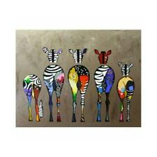 Abstract Zebra Deer Cartoon Style Paint By Numbers Paint Canvas Included M4F1