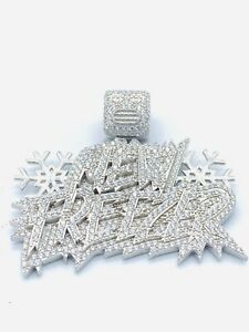 """Sterling Silver CZ Iced Out Pendent """"New Freezer"""""""