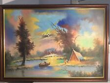 large Vintage Oil painting Northern Lights Over The River framed And Signed