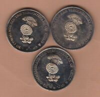 THREE LARGE 1973 CHILD COMPANY BANKERS SILVER PLATED MEDALS NEAR MINT CONDITION