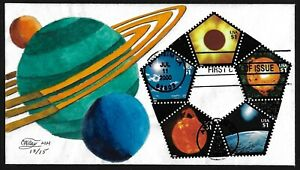 US 2000 RINGS OF SATURN CACHET BY CW RAY HAND DRAWN EXPLORING THE SOLAR SYSTEM