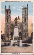 (y4v) Postcard: Montreal, Maisonneuve M/onument and Notre Dame Church