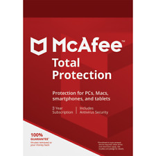 McAfee Total Protection 3 Years 1 Device Digital Key Install New / Renew License