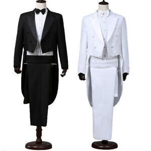 Men Tailcoat Tuxedo Suit and Trousers Set Formal Prom Blazer Wedding Costume