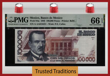 TT PK 94a 1988 MEXICO BANCO 100000 PESOS PMG 66 EPQ GEM TOP POP ONLY 3 FINER