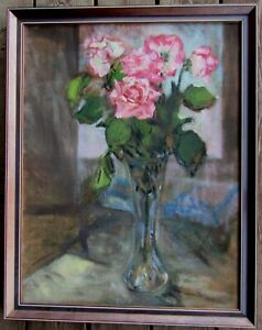 LISTED Paige Hargrove Expressionist Still Life of Roses Large Oil Painting NR