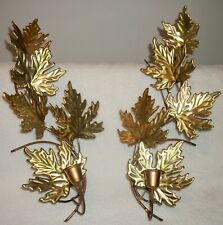 Home Interiors Homco 2 Metal Gold Leaves Sconces Candle Holders Free Shipping!