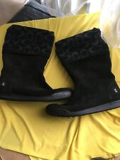 Womens Black Leather Coach Boots 7.5 M NICE!!!