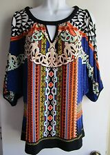 BEIGE by eci NWT $69 Blue Orange Boho Print Cut-out Shoulder Dolman Sleeve Blous