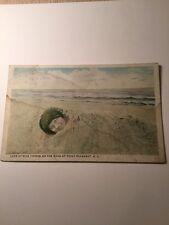 Old Postcard 1900's Girl On Beach  Point Pleasant New Jersey NJ Shore Beach