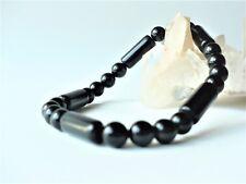 Bracelet élastique perles obsidienne noire tubes/rondes 6 mm - pierre fine gemme
